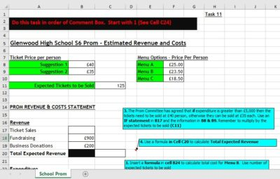 IF Statements, Higher Admin & I.T, Excel Spreadsheets