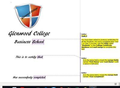 Microsoft Word and Mail Merge, Microsoft Access, Certificate with Mail Merge, N5 Admin & I,T, Higher Admin & I.T